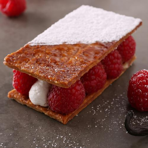 Caramelized vanilla slice with raspberries